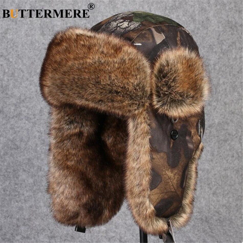 BUTTERMERE Camouflage Bomber Hats Russian Ushanka Hat Fur Winter Pilot Earflaps Cap For Men Women Sports Outdoor Trapper Hats