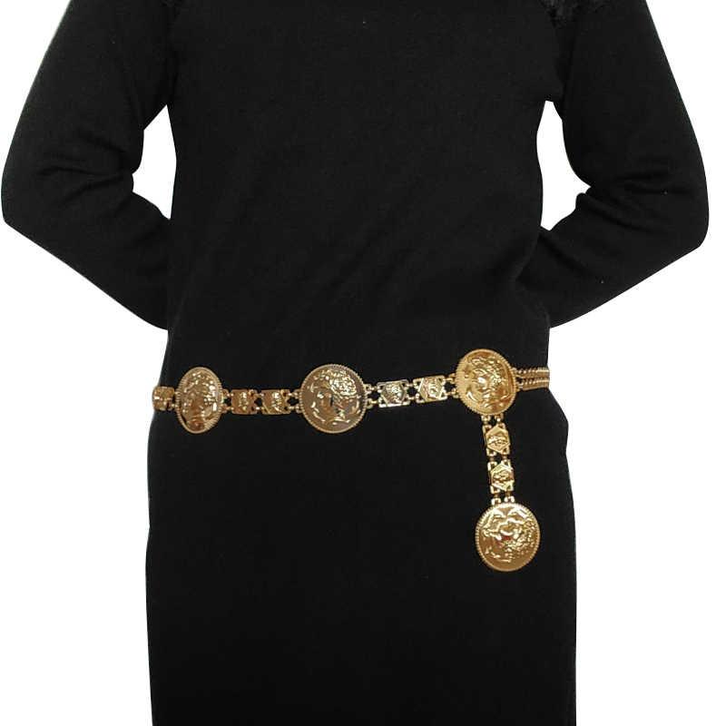 New fashion luxury designer brand chain belt for women Golden coin dolphins  metal waist belts female 5e422fa68fb1