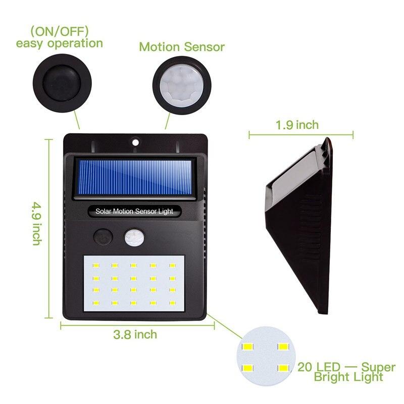 20 LED Solar Light Solar Power PIR Motion Sensor Wall Light Waterproof Outdoor Solar Lamp Led Security Lights Garden Home Stair