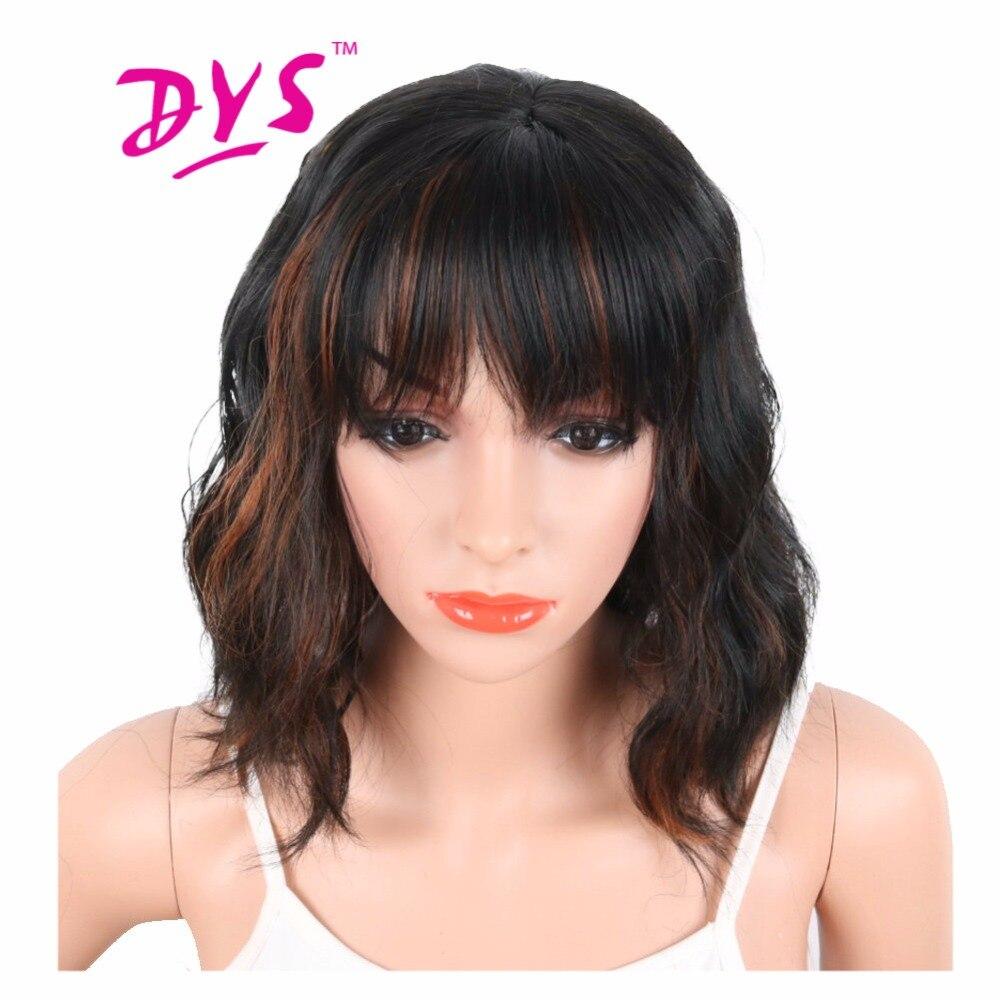Deyngs Black Mix Brown Färg Syntetiska Paryk Med Bangs För Svarta - Syntetiskt hår - Foto 1