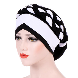 Image 5 - Muslim Women Milk Silk Double Braid Turban Hat Bonnet Beanies Cap Hijab Headwear Hair Protector Head Wrap Hair Accessories