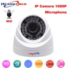 Купольная камера Heanworld HD, IP 1080P, мини камера 2 Мп, IP, ночное видение с микрофоном, ONVIF, камера видеонаблюдения, IP камера для помещения