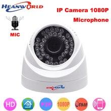 Heanworld cámara domo HD IP 1080P, Mini cámara IP de 2.0MP, visión nocturna con micrófono, ONVIF, cámara de seguridad CCTV IP para interiores