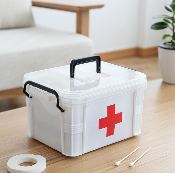 Household medicine box medicine storage box large layered transparent transparent portable family medical kit medicine small fir цена