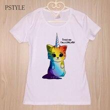 Kawaii Rainbow unicornio camiseta para las mujeres Niñas verano lindo gato t-shirt blanco mujer manga corta Camiseta dropshipping 2018