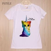 PSTYLE Kawaii Rainbow Unicorn Cat Printed T Shirt Women Summer Animal T-shirt Short Sleeve Harajuku Femme tshirt White Tee Tops