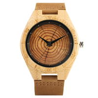 Growth Ring Dial Women Bamboo Wood Watch Brown Geunine Leather Strap Men Female Wooden Quartz Watches