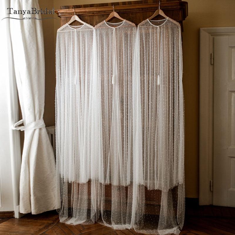Striking Pearls Wedding Cape Illusion Tulle Bridal Shawl Elegant Long Jacket Coprispalle Bolero Novia 2m Length  DJ002