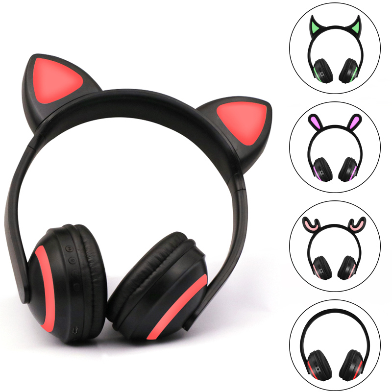 Cat Ear Headphones 7-Color Flashing Glowing Ear Headset Earphone Bluetooth Headphone For Girls Kids Gaming Rabbit Deer Devil Ear slogan print cat ear marled hoodie