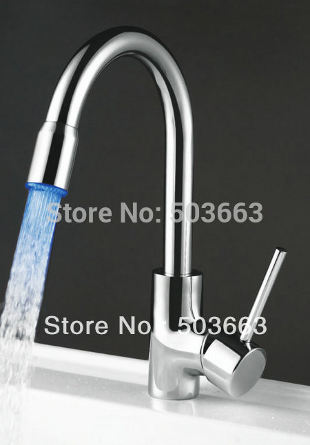 Modern PRO Led Single Hole Surface Mount Kitchen Rotation Faucet Brass Tap L-111 Mixer Tap Faucet