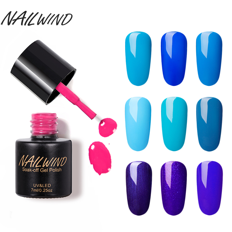 NAILWIND 7ML Blue Color New Style 1pcs Nail Gel Polish Soak Off Gel ...