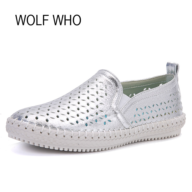 WOLF WHO Summer Leather Espadrilles Women Moccasins Female Loafers Flats Shoes Ladies Slipony Slip on Krasovki Footwear H-064  wolf who 2017 summer loafers cut out women genuine leather shoes slip on shoes for woman round toe nurse casual loafer moccasins