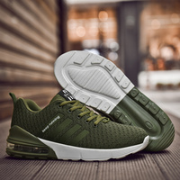 New Men's Sneakers Big Size Flywire Tide Running Shoes Air Cushion Male Trend Sport Casual Outdoor Runing Jogging Fitness Green