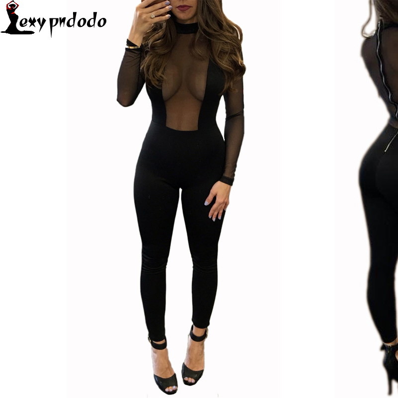 Sexy Deep V Neck Bodycon Jumpsuits Women 2016 New Lace Jumpsuit Rompers Playsuits Black Long Pants Sheer Patchwork Bodysuit S-XL