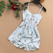 NiceMix Women Rompers New 2018 Summer flora print Vintage Embroidery Jumpsuits Woman Bohemian Beach Holiday Shorts Playsui