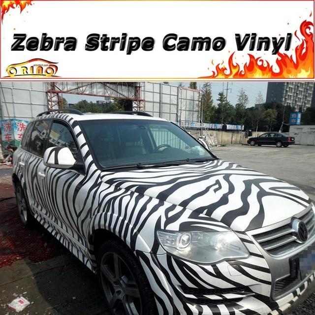 High quality zebra stripe sticker bomb vinyl wrap with air release animal skin grain camo car