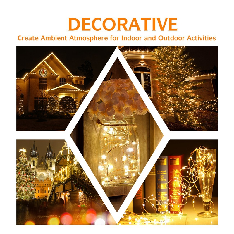 Christmas light 5/10m Waterproof Remote Control Fairy Lights Battery USB Operated  Decoration 8Mode Timer LED String Copper Wire 6
