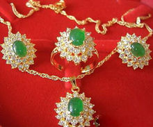 wholesale choker jewelry sets for women anime Wedding Green gem Crystal Pendant Earrings Ring Necklace