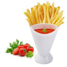 White Plastic French Fry Chips Cone Holder Salad Dipping Cup Saucer Assorted Sauce Ketchup Jam Dip Cup Bowl