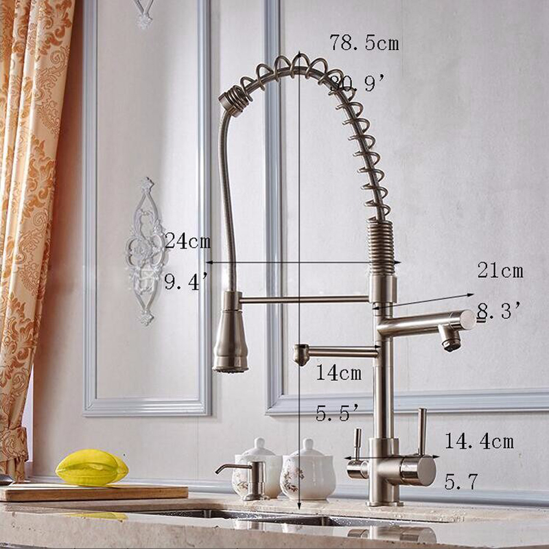 Contemporary solid brass brushed nickel 3 way pull out kitchen sink mixer deck mount dual handle kitchen faucet NL702-in Kitchen Faucets from Home Improvement    2