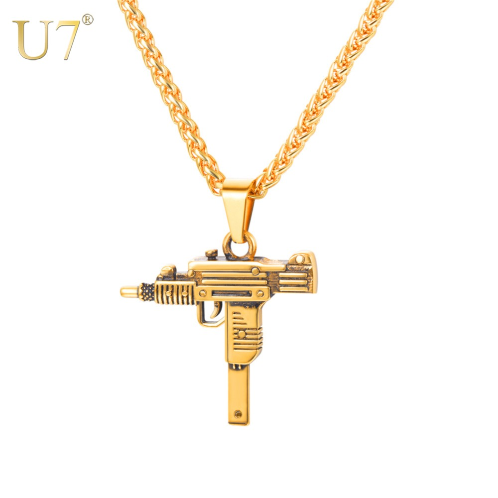 U7 UZI GUN Shape Pendant Necklace For Men Hip Hop Jewelry Gold/Black Color Stainless Steel Army Style Male Chain Necklaces P1159 skull necklace raven skull