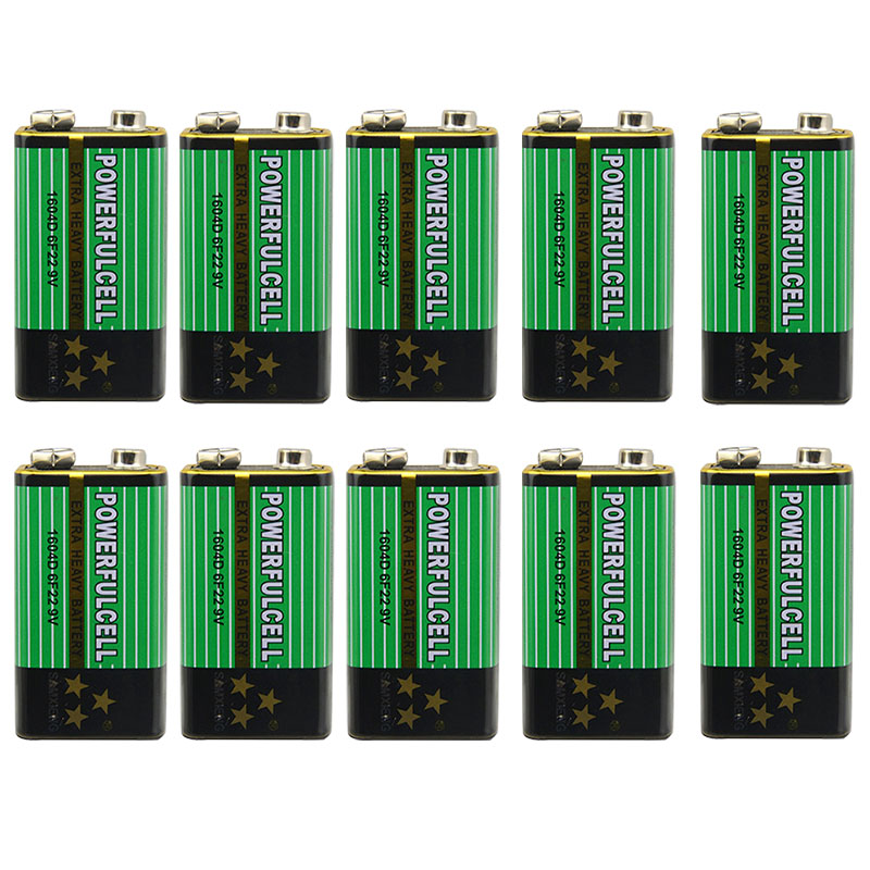 9V Battery Primary 10x6f22 Zinc 1604D for Alarm Wireless Microphone No-Mercury New Drop-Ship