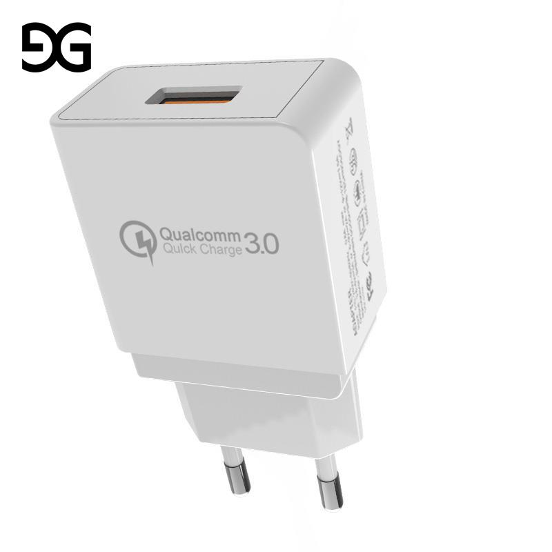 GUSGU Mobile Phone Charger 18W USB Charger for iPhone Quick Charge 3.0 Fast Charger USB Travel Adapter for Huawei Samsung LG