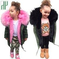 HH Girls winter coat parka real faux fur Collar Removable Thicken Coat kids coats boys winter boys parka Children Outwear jacket