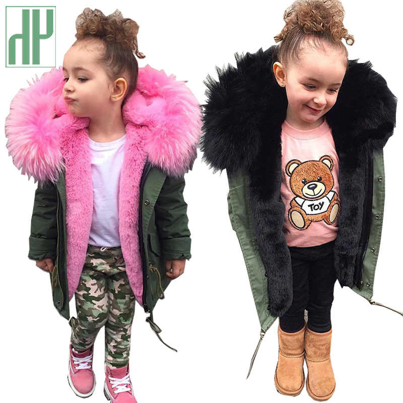 HH Girls winter coat parka real faux fur Collar Removable Thicken Coat kids coats boys winter boys parka Children Outwear jacket цены онлайн