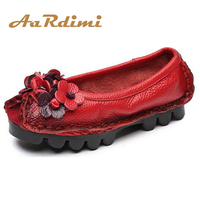 Top Quality Handmade Floral Women Shoes Genuine Leather 5 Colors Spring Loafers Women Flats Ballet Casual
