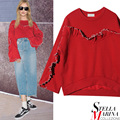New European Women Spring Autumn Solid Color Red Black O-Neck Pullover Ruffles With Butterfly Sleeves Fashion Sweater Style 2085