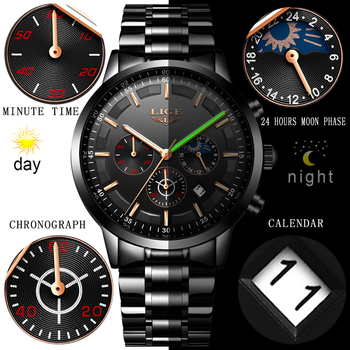 LIGE Fashion Sports Clock Top Brand Luxury Business Chronograph Waterproof Men Quartz Watches 3