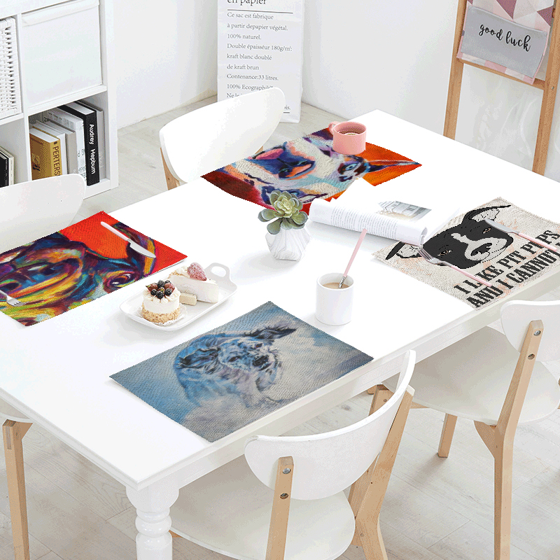 Oil Painting Style Dog 42x32cm Tablecloth Letters Snow Kitchen Dining Room Decor Table Runner Tea Coffee Table Western Table Mat