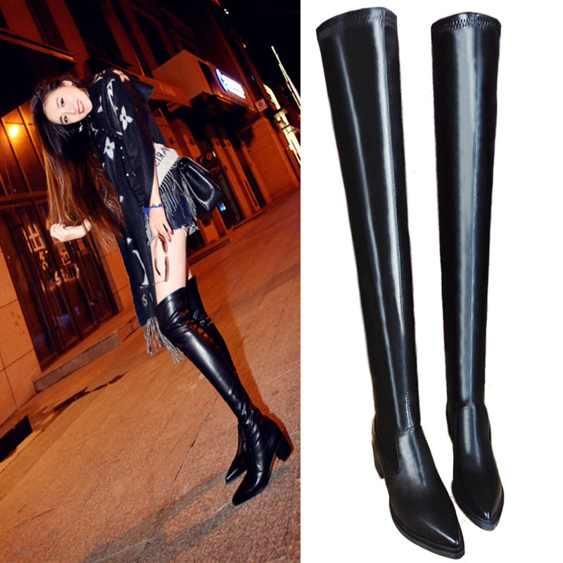 european winter boots leather thigh boots leg pointed thick with elastic pointed long canister. Black Bedroom Furniture Sets. Home Design Ideas