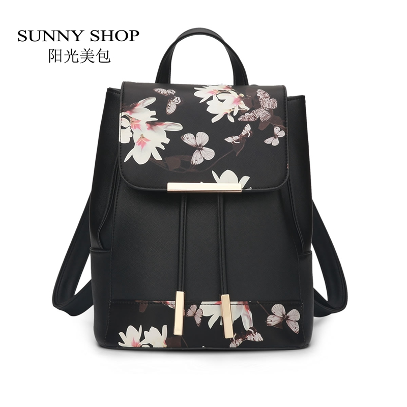 SUNNY SHOP Fashion Printing Backpack Women Drawstring School Bags for girls Casual Leather Bagpack High Quality