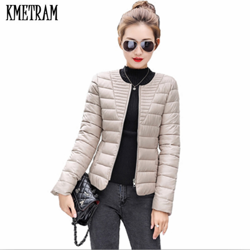 KMETRAM 2018 Fashion Ultralight Parka Winter Jacket Women Unique Style Women's Jackets Short Warm Thin Winter Coat Women HH330
