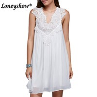 Loneyshow Hot Sale Women Elegant White Lace Dress Summer Spring Hollow Out High Quality Sleeveless Plus