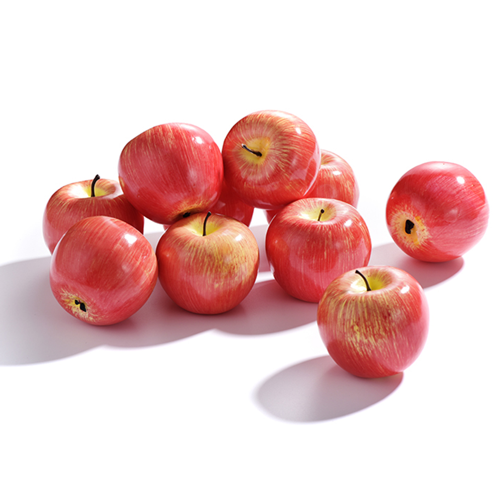 6pcs/set Artificial Red Apples/Green Apples/Pears Fake Simulation Fruits Home Kitchen Cabinet Decoration Ornament Craft