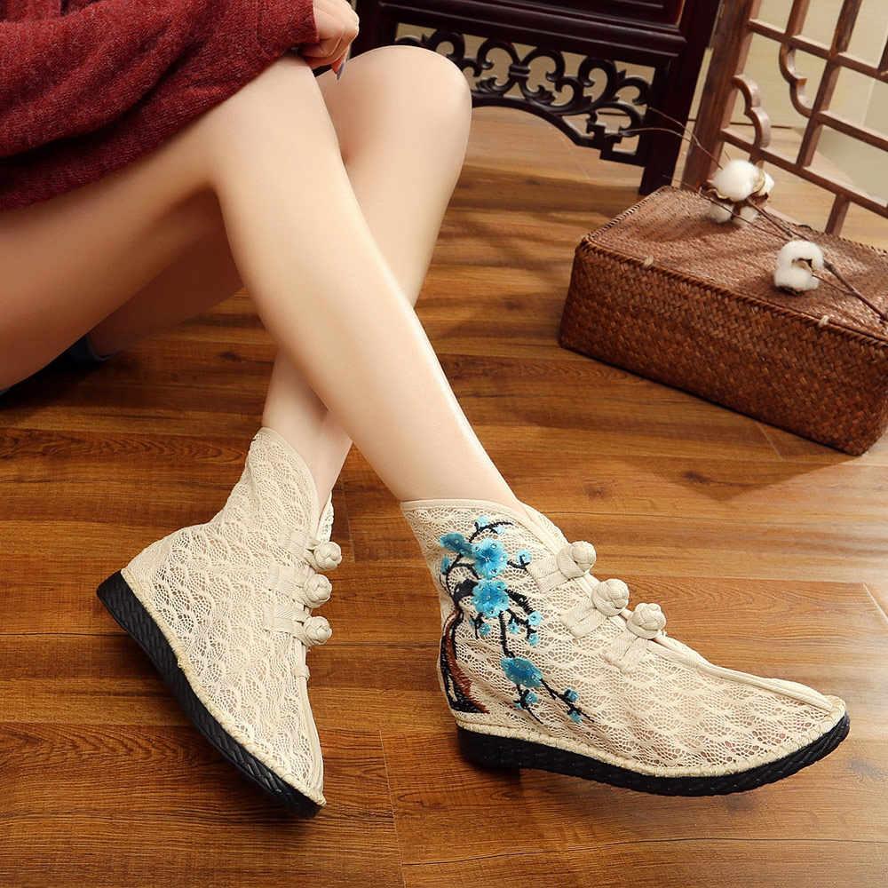 Veowalk letnia wiosna kobiety koronkowe tkaniny krótkie buty, oddychająca bawełniana haftowana botki dla pań w stylu Vintage płaskie buty