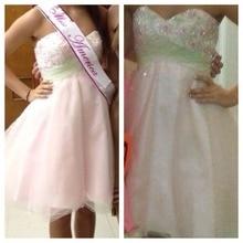 2015 heißer Verkauf Großhandel Kurze Brautkleider Sexy Backless Abend Dresss Appliques A-line Schatz Kleid Für Party
