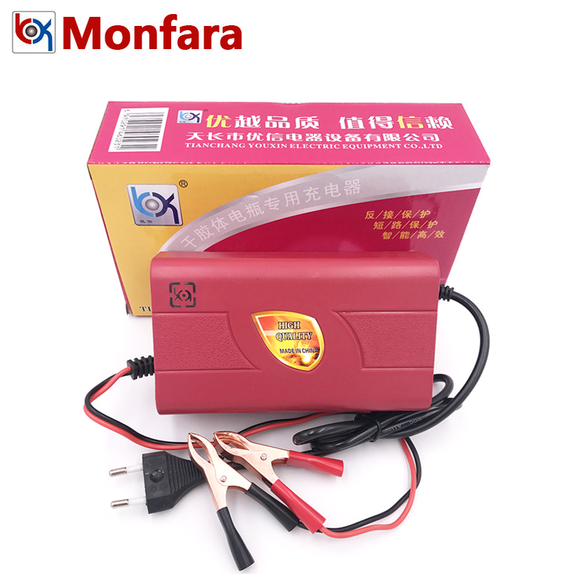 12V 4A Electric Car Motor Maintenance-Free Battery Charger for Automotive Motorcycle GEL ...