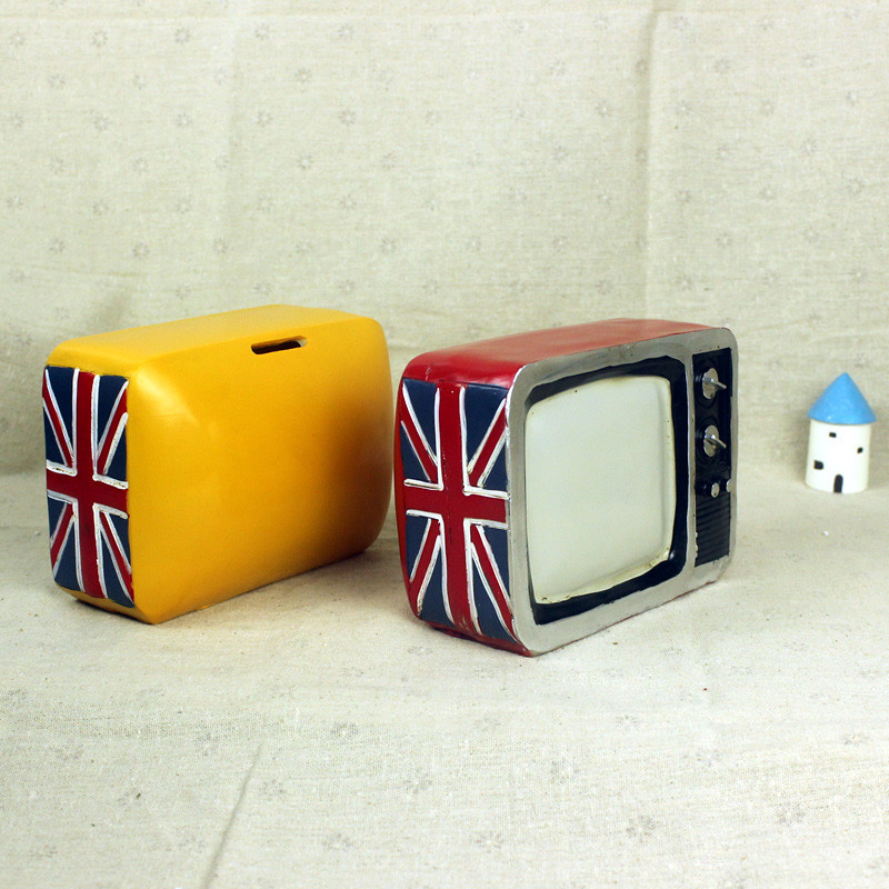 American TV Machine Large Piggy Bank Figurines Old Fashion Resin Money Box Kids Coin Money Bank Safe Box Craft Gift For Children