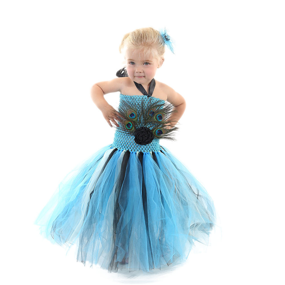 Peacock Feather Girl Tulle Tutu Dress Pageant Wedding dress Kids Birthday Party Purim Peaacock princess costume for Halloween