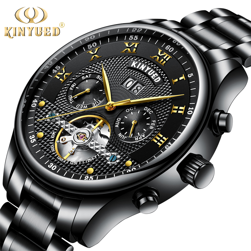 KINYUED Mechanical Wristwatches Automatic Self-Wind Stainless Steel Waterproof Skeleton Watch Men Calendar Montres Homme women favorite extravagant gold plated full steel wristwatch skeleton automatic mechanical self wind watch waterproof nw518