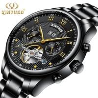 KINYUED Mechanical Wristwatches Automatic Self Wind Stainless Steel Waterproof Skeleton Watch Men Calendar Montres Homme
