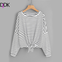DIDK Striped Tie Front Drop Shoulder Tee Women S Round Neck Long Sleeve Casual T Shirt
