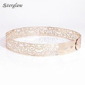 Image 2 - Hot fashion Hollow Metal strap for women Modeling belt 2020 New 3.5cm Golden waist womens belt Girdle for dresses cinturone J013