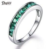 DUPUY 2018 New Hot Sale Treated Emerald Band Princess Cut Emerald 14k White Gold Art Deco Wedding Ring Classic B0024EM