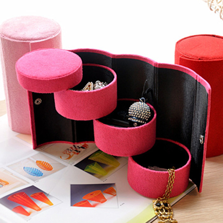 Hot selling Women Jewelry Box Flannel Three Tier Round Portable