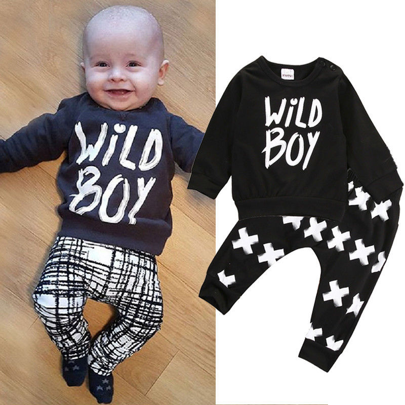 Newborn Baby Boys Outfit Set Wild Boy Tops Letters T Shirt Long